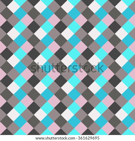 Seamless geometric checked pattern. Diagonal square, woven line background. Patchwork, rhombus, staggered texture. Gray, blue, rose colors. Vector - stock vector