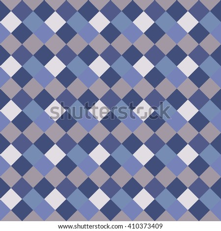 Seamless geometric checked pattern. Diagonal square, woven line background. Rhombus, patchwork texture. Blue, gray, white pastel colored. Vector - stock vector