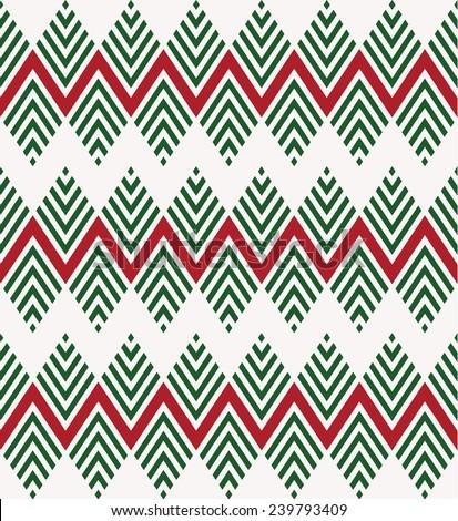 Seamless geometric chevron Christmas patterns - stock vector