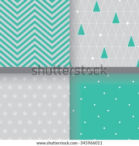 Seamless Geometric Christmas Pattern - Minimal style - stock vector