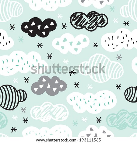 Seamless geometric cloud pattern with aztec details and pastel color background wallpaper in vector - stock vector
