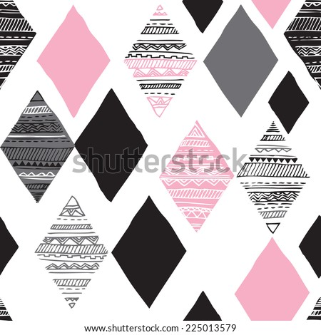 Seamless geometric diamond tribal triangle hand drawn background pattern in vector - stock vector