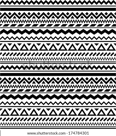 Seamless geometric ethnic pattern in black and white  - stock vector