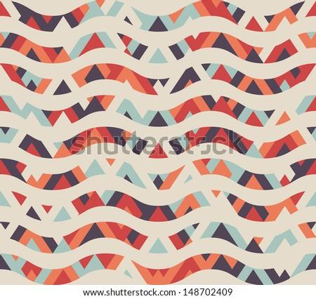 Seamless geometric ethnic wave pattern - stock vector