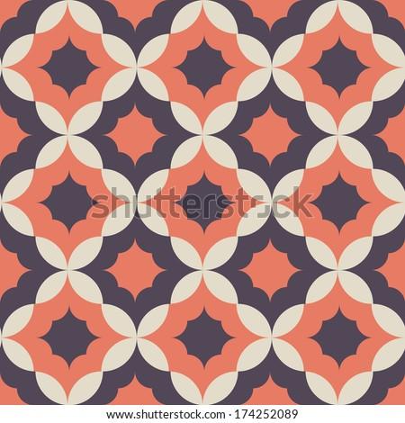 Seamless geometric  flower pattern background - stock vector