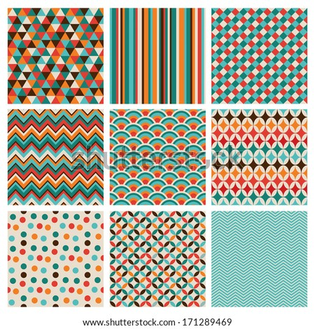 Seamless geometric hipster background set. Retro Vintage Seamless Patterns. Vector Illustration - stock vector