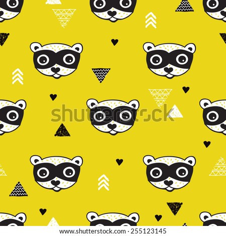 Seamless geometric kids woodland raccoon illustration triangle background pattern in vector - stock vector