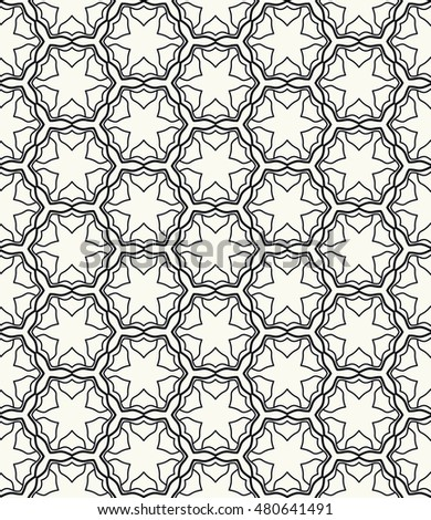 Seamless geometric line pattern. Contemporary graphic design. Endless hexagon texture for wallpaper, pattern fills, web page background. Tribal ethnic arabic indian ornament.