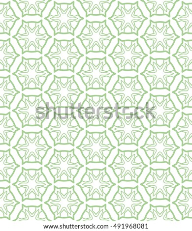 Seamless geometric line pattern in arabian style, ethnic ornament. Endless hexagonal texture for wallpaper, banners, invitation cards. Green and white graphic lace background