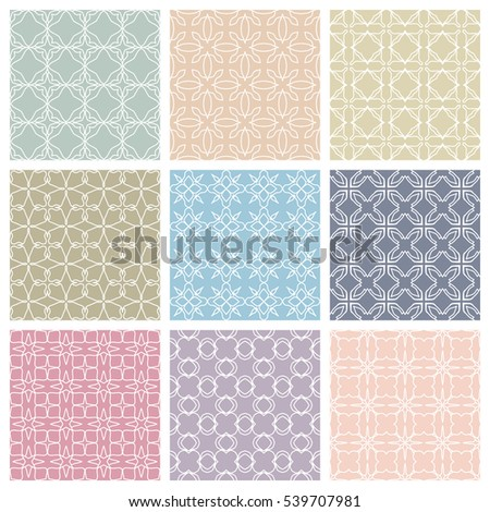 Seamless geometric line patterns set. Contemporary graphic design. Endless texture for wallpaper, pattern fills, web page line backgrounds. Tribal ethnic arabic, indian motifs, pastel colors ornaments
