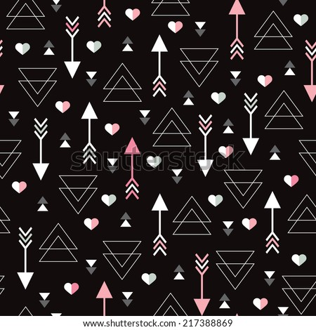 Seamless geometric modern arrow hearts for valentines day and wedding background pattern in vector - stock vector