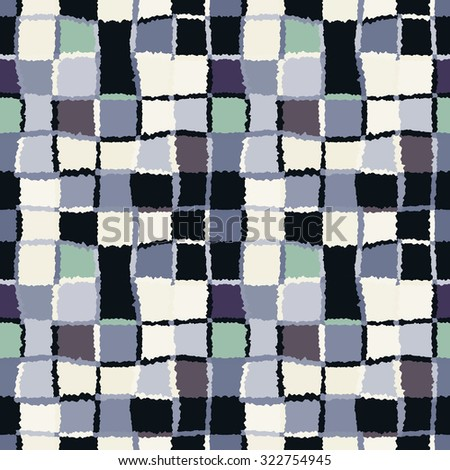 Seamless geometric mosaic checked pattern. Background of woven rectangles and squares. Patchwork, ceramic, tile texture. Cold, pastel, variegated, blue, gray, white, green colors. Winter theme. Vector - stock vector