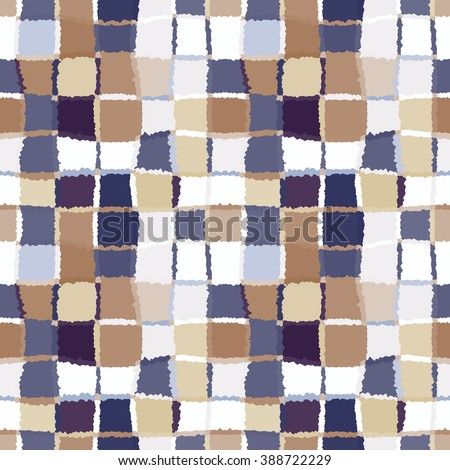 Seamless geometric mosaic checked pattern. Background of woven rectangles and squares. Patchwork, ceramic, tile texture. Brown, beige, lilac colors. Vector - stock vector