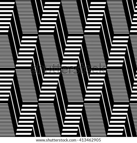Seamless geometric op art pattern. Lines texture. Vector art. - stock vector