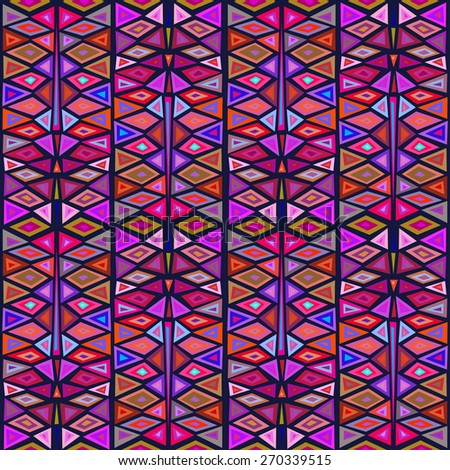 """Seamless geometric pattern """"African motifs"""", multicolor pattern of triangles and rhombuses.  - stock vector"""