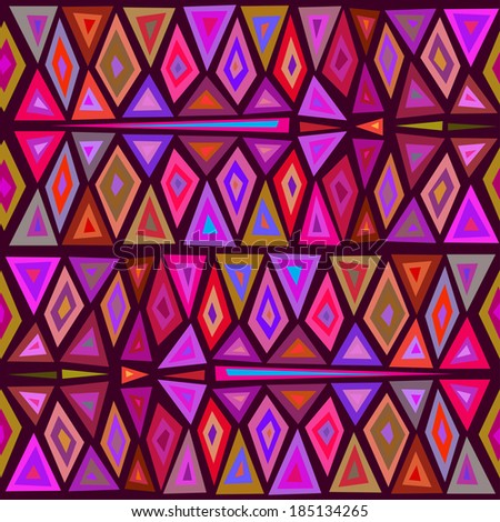"Seamless geometric pattern ""African motifs."" Multicolor pattern of triangles and rhombuses. Vector."