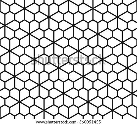 Seamless geometric pattern, archimedean tiling, polygonal flower background - stock vector