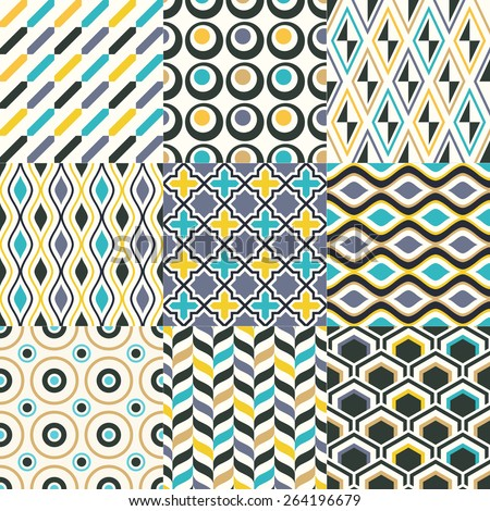 seamless geometric pattern background set - stock vector