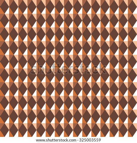 Seamless geometric pattern. Carbon texture. Rhombus convex shine light figures on brown background. Chocolate, coffee colored. Vector  - stock vector