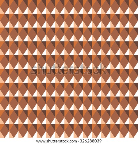 Seamless geometric pattern. Carbon texture. Rhombus convex shine light figures on orange, brown background. Chocolate, coffee, honey theme. Copper colored. Vector  - stock vector