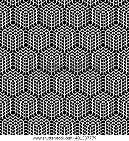 Seamless geometric pattern. 3D illusion. Latticed structure. Vector art. - stock vector