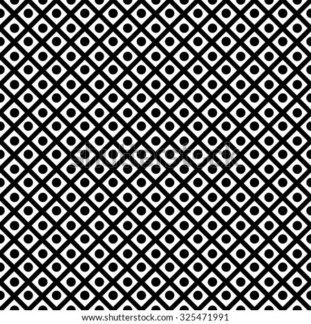 Seamless geometric pattern diagonal criss-crossing black lines and black circles-vector illustration.