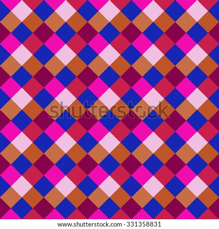 Seamless geometric pattern. Diagonal square, braiding, woven line background. Rhomb figure texture. Patchwork, motley. Festival, holiday, clown, circus theme. Bright magenta, blue colored. Vector - stock vector