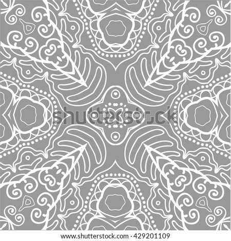 Seamless geometric pattern, endless repeating texture. Tribal ethnic ornate background, monochrome lace pattern. Fashion fabric or paper print, square doodle pattern, vector illustration - stock vector