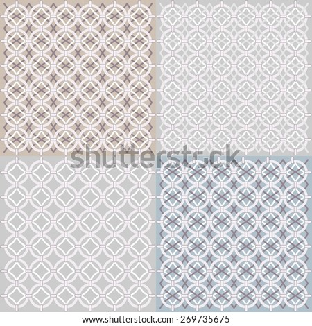Seamless geometric pattern four types - Illustration