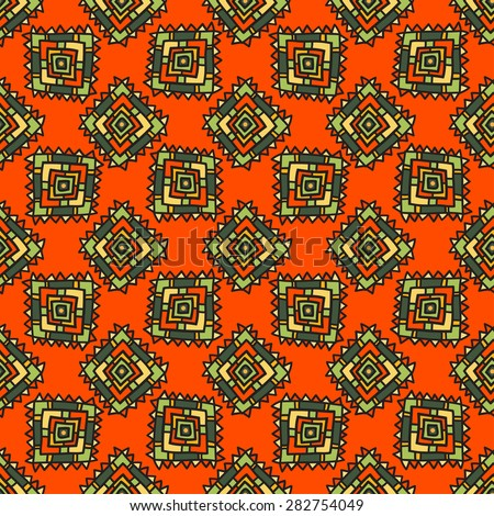 Seamless geometric pattern in ethnic style, traditional African motifs, colorful ornamental pattern on an orange background.