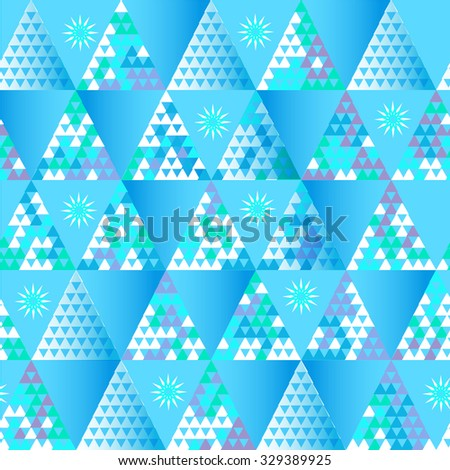 Seamless geometric pattern in winter colors, snow and ice theme. Christmas geometric background in vector. - stock vector