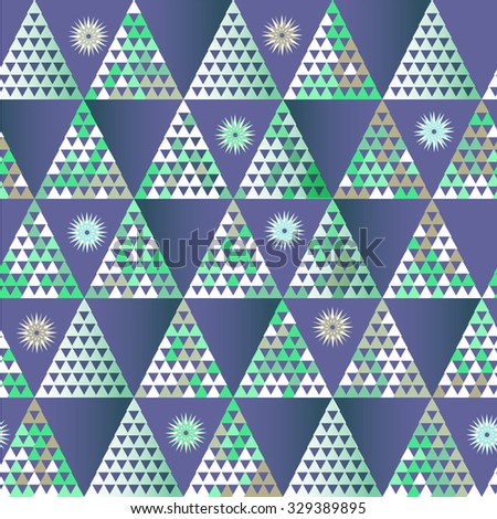 Seamless geometric pattern in winter colors, snow, ice, Christmas tree, night  theme. Christmas geometric background in vector. - stock vector
