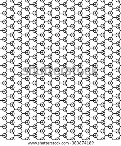 Seamless geometric pattern of the hexagons and rings elements - stock vector