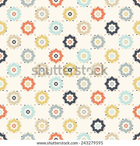 Seamless geometric pattern on paper texture. Abstract floral background - stock vector