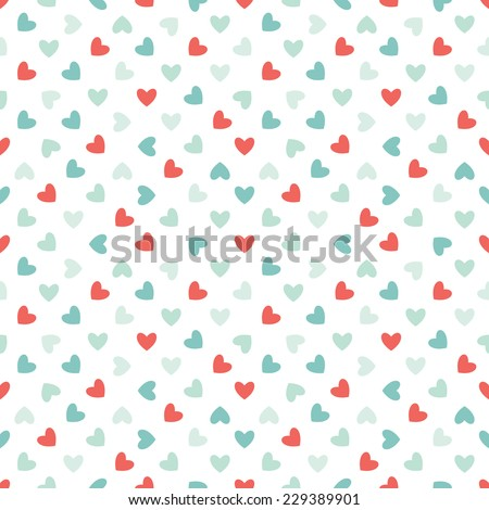 Seamless geometric pattern. Polka dot from rotated hearts. Vector holiday texture in contrast colors - stock vector
