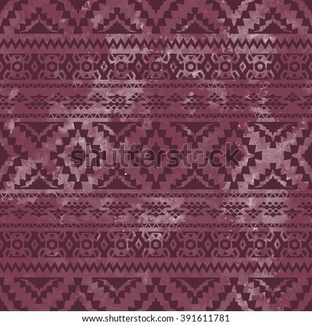 Seamless geometric pattern. Purple watercolor texture. Vector illustration. - stock vector