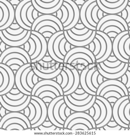 Seamless geometric pattern .Realistic shadow creates 3D look. Light gray colors.Cut out paper effect.Perforated striped circle pin will.