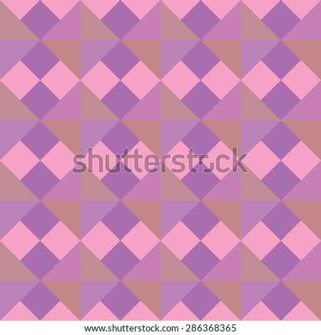 Seamless geometric pattern. Rhomb texture. Diagonal square and triangular background. Lilac, rose, magenta colors. Vector - stock vector
