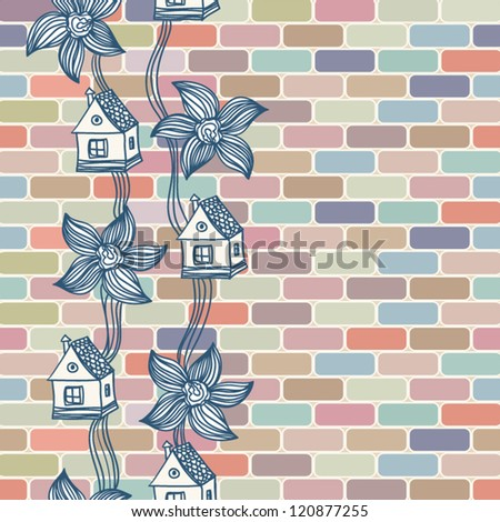 Seamless geometric pattern Seamless colorful brick wall with flowers and houses - stock vector