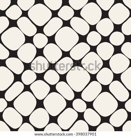 Seamless geometric pattern. Stylish monochrome grid. Smooth curved squares. Vector repeating texture with curvature effect - stock vector