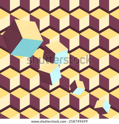 Seamless geometric pattern. Vector illustration based on cubic forms. - stock vector