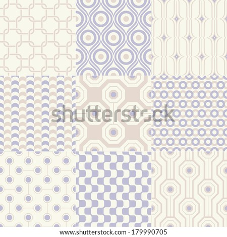 seamless geometric pattern vector set - stock vector