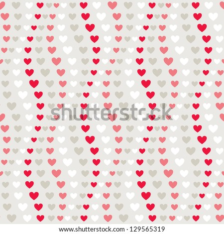 Seamless geometric pattern. Vertical wavy stripes of hearts. Vector repeating texture - stock vector
