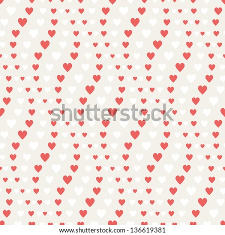 Seamless geometric pattern. Wavy stripes with hearts. Vector repeating texture - stock vector