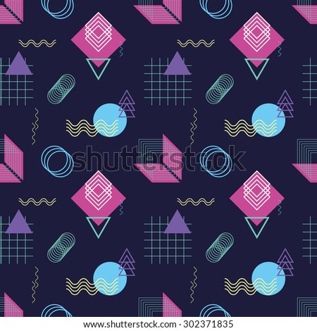 Seamless geometric pattern with abstract line shapes 3 - stock vector