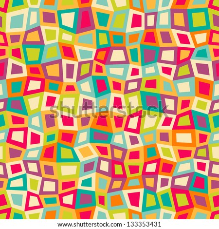 Seamless geometric pattern with bright color squares. Vector illustration - stock vector