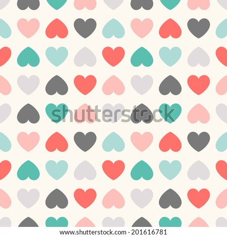 Seamless geometric pattern with hearts. Vector illustration for romantic design. Endless texture for printing onto fabric, web page background and paper or invitation. Vintage colorful. - stock vector