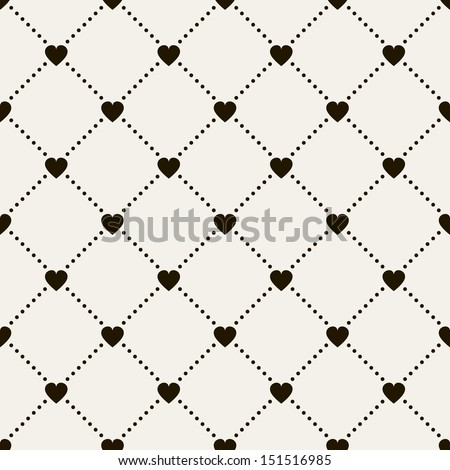 Seamless geometric pattern with hearts. Vector repeating texture. Holiday polka dot - stock vector