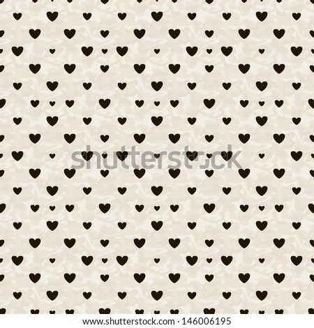 Seamless geometric pattern with hearts. Vector repeating texture. Stylish valentines background - stock vector