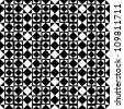 Seamless geometric pattern with monochrome elements, black and white vector background - stock vector
